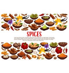 Spices and condiments cooking ingredients poster vector