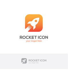 Square rocket icon vector