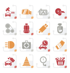 stylized car parts and services icons vector image