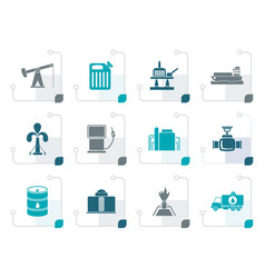 stylized oil and petrol industry icons vector image
