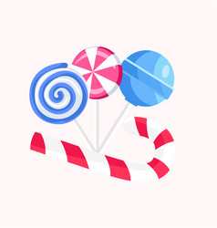 sweet colorful lollipops isolated vector image