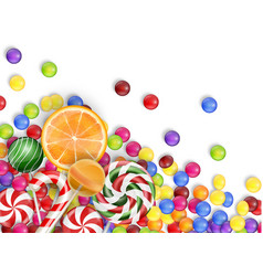 sweets of candies with lollipop orange juice vector image