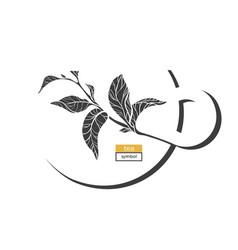 Tea symbol white 2 vector