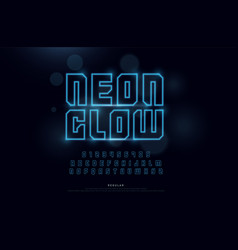 technology neon font and numbers alphabet techno vector image