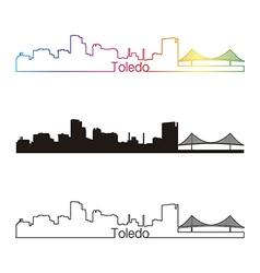 Toledo OH skyline linear style with rainbow vector