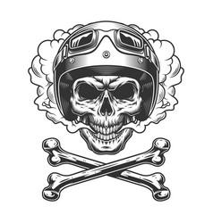 Vintage motorcyclist skull in smoke cloud vector