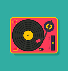 vinyl player turntable icon retro style party vector image