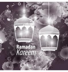 Watercolor black blob Ramadan kareem vector