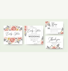 Wedding floral watercolor invite invitation save vector