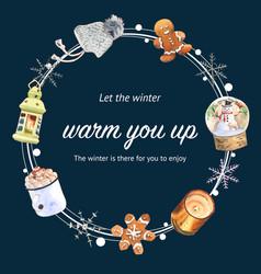 Winter home wreath design with cookies lantern vector