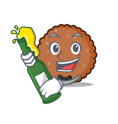 With beer chocolate biscuit mascot cartoon vector