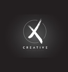 X brush letter logo design artistic handwritten vector