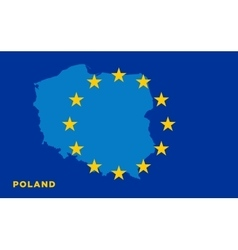 Flag of european union with poland on background vector