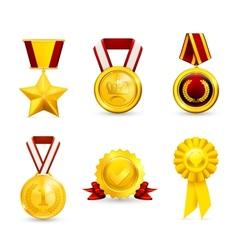 Gold medal set vector image vector image