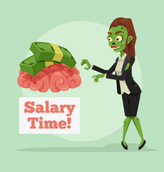 happy smiling business zombie woman vector image
