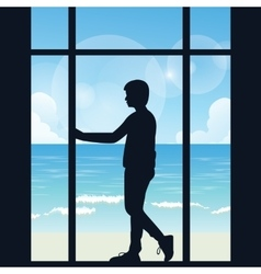 man boys silhouette alone looking to the sea open vector image vector image