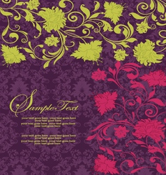 purple damask invitation card vector image vector image