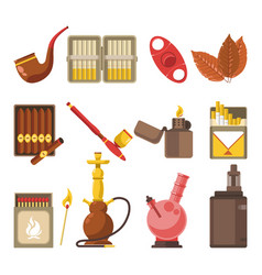 smoking appliances and cigarettes accessories vector image vector image