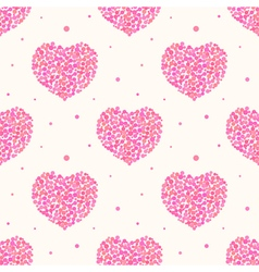 Valentines Day pattern with pink dotted hearts vector image vector image