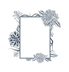Vintage Lily and Dahlia Flower Frame vector image