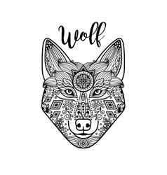Zentangle wolf head with guata vector image