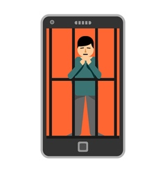 Businessman locked in smartphone vector image