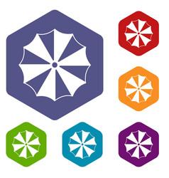 striped umbrella icons set vector image