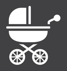 baby carriage solid icon pram and pushchair vector image