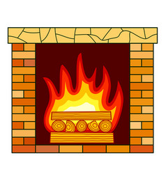 brick fireplace icon vector image vector image