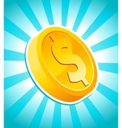 dollar gold coin vector image vector image