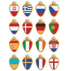 football flag shields vector image vector image