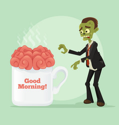 happy smiling business zombie man vector image