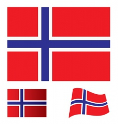 Norway flag set vector image vector image