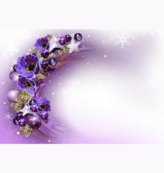 purple christmas wreath background vector image vector image