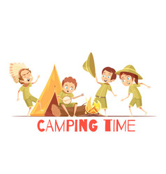 scouts camping retro cartoon poster vector image vector image