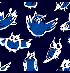 seamless pattern with doodle owls background with vector image