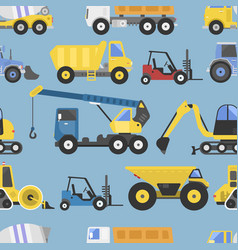 construction equipment seamless pattern machinery vector image vector image