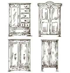 set of hand drawn wardrobes Interior vector image vector image