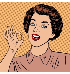 Woman showing okay gesture well the quality is vector image