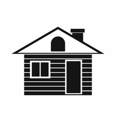 Wooden log house icon simple style vector image vector image