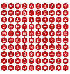 100 team work icons hexagon red vector