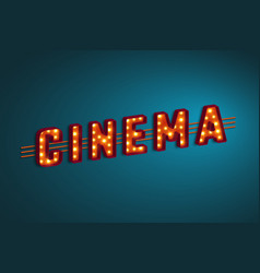 3d retro cinema sign vector