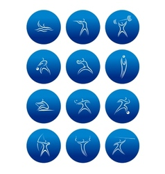 Abstract sporting pictograms with silhouettes vector