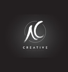 ac brush letter logo design artistic handwritten vector image