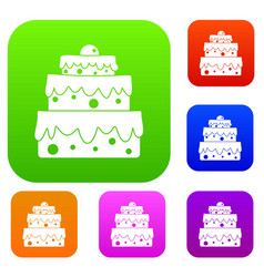 big cake set color collection vector image