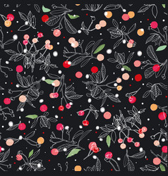 black pattern with rose plant and snow flakes vector image