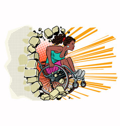 black woman athlete in a wheelchair punches the vector image