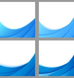 Blue business layered flyer backgrounds collection vector