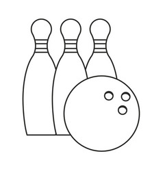 bowling ball pin sport thin line vector image