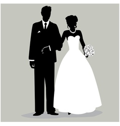 Bride and Groom Silhouette vector image